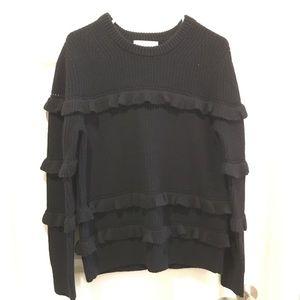 Michael Kors black ruffle sweater, size large